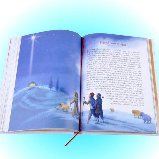 Biblia- Pamiątka I Komunii Świętej- niebieski różaniec