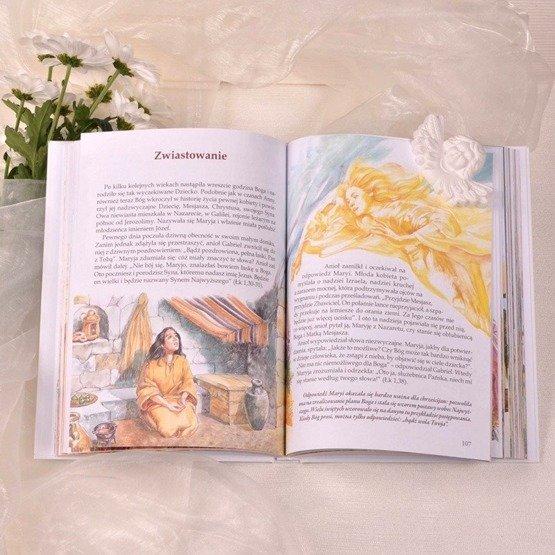 Biblia w drewnianym pudełku - różaniec różowy