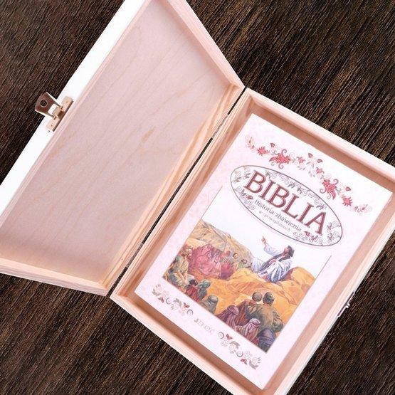 Biblia w drewnianym pudełku - witraż