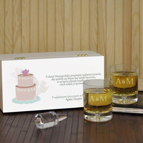 """Dwie szklanki w pudełku na ślub- """"Tort"""""""