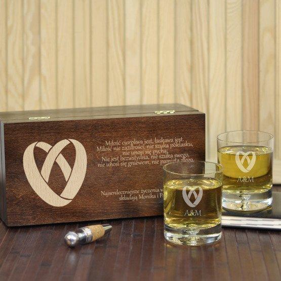 """Dwie szklanki w pudełku z grawerem- """"Obrączki"""""""