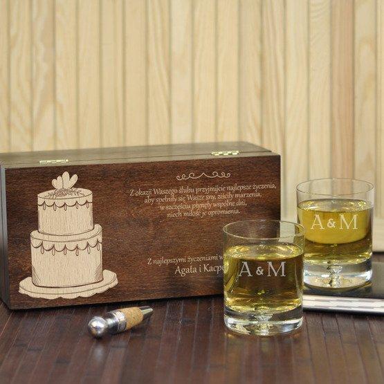 """Dwie szklanki w pudełku z grawerem - """"Tort"""""""