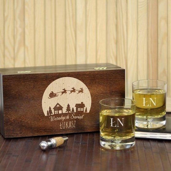 Dwie szklanki w pudełku z grawerem - Wesołych Świat +Inicjały