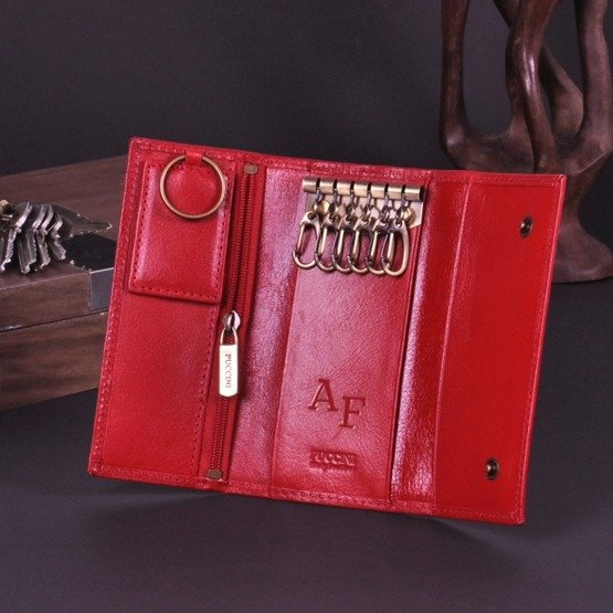 Etui na klucze długie PUCCINI czerwone z inicjałami