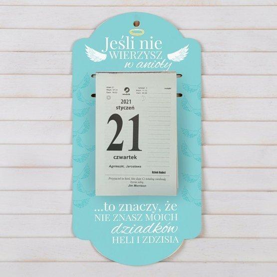 Kalendarz na deseczce z nadrukiem-Dziadkowie-anioły