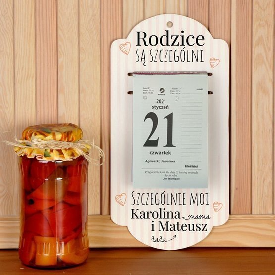 Kalendarz na deseczce z nadrukiem - Szczególni rodzice...