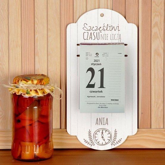 Kalendarz na deseczce z nadrukiem- Zegar