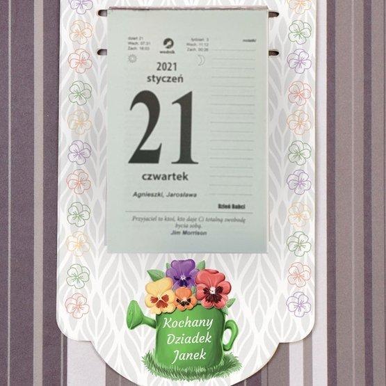Kalendarz na deseczce z nadrukiem- bratki dla Dziadka