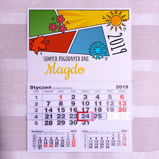 Kalendarz ścienny z nadrukiem- Samych pogodnych dni...