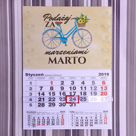 Kalendarz ścienny z nadrukiem- podążaj za marzeniami