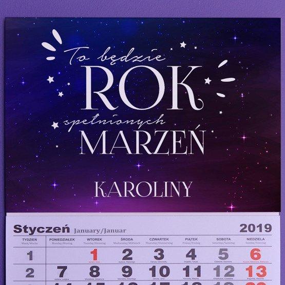 Kalendarz ścienny z nadrukiem- rok spełnionych marzeń