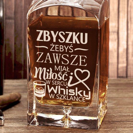 """Karafka do whisky """"...miłość w sercu...""""- prezent na imieniny lub urodziny"""