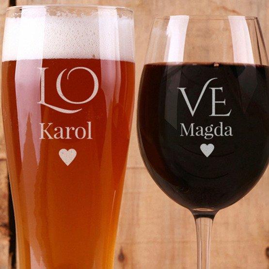 Kieliszek do wina i szklanka do piwa - LOVE