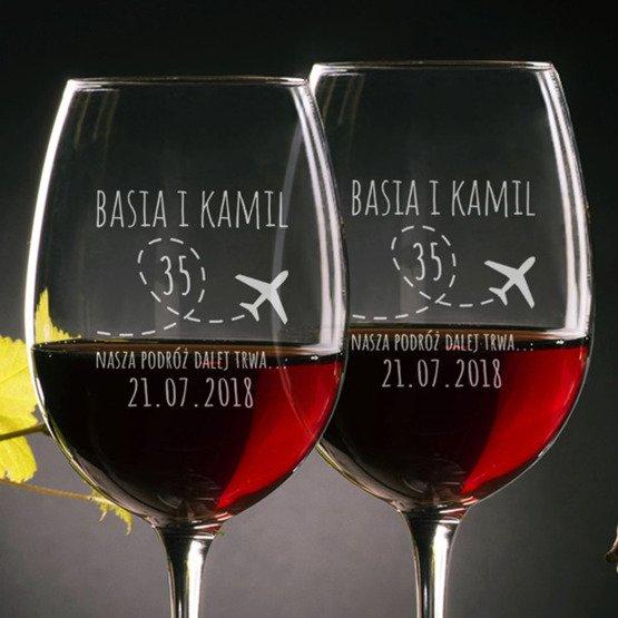 Kieliszki do wina rocznica ślubu - podróż