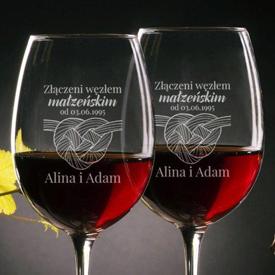 Kieliszki do wina - węzeł miłości