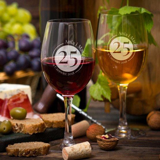 Kieliszki do wina z grawerem laserowym  - rocznica ślubu