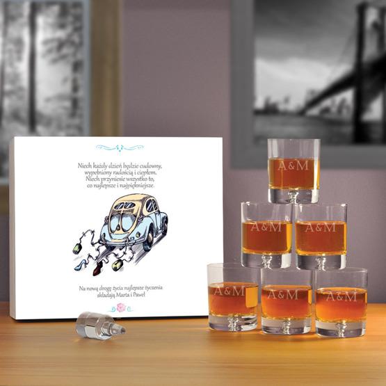 """Komplet sześciu szklanek w  pudełku na ślub- """"Garbus"""""""