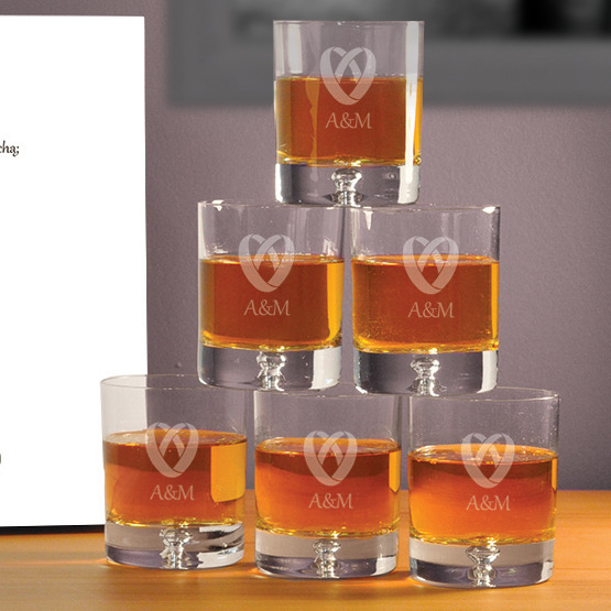 "Komplet sześciu szklanek w pudełku na ślub- ""Obrączki"""
