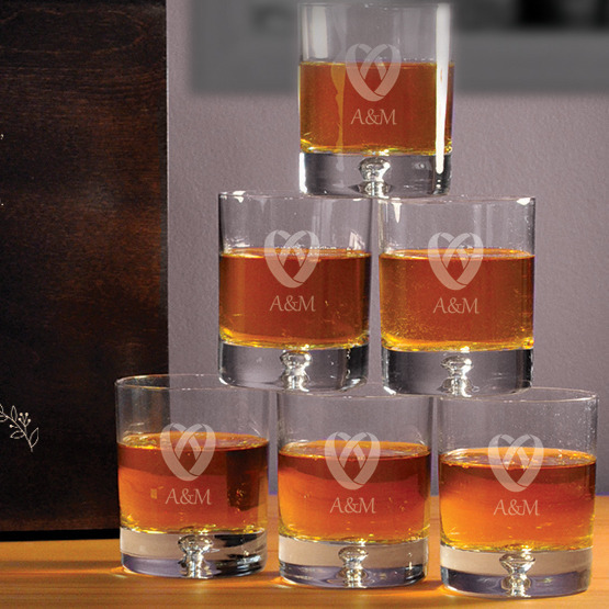 """Komplet sześciu szklanek w pudełku z grawerem """"Obrączki"""""""