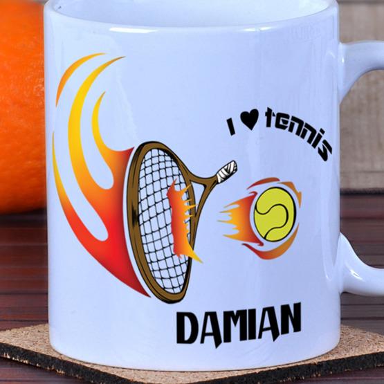 """Kubek dla tenisisty z kolorowym nadrukiem """"I love tennis"""""""