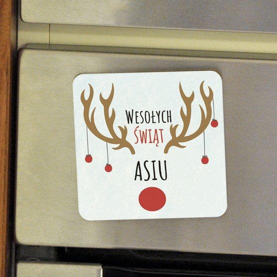 """Magnes na lodówkę- """"Wesołych Świąt"""""""