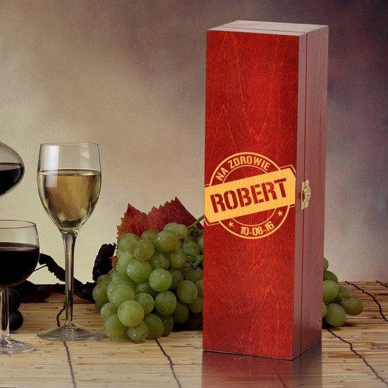 """Pudełko na wino- """"Na zdrowie"""""""
