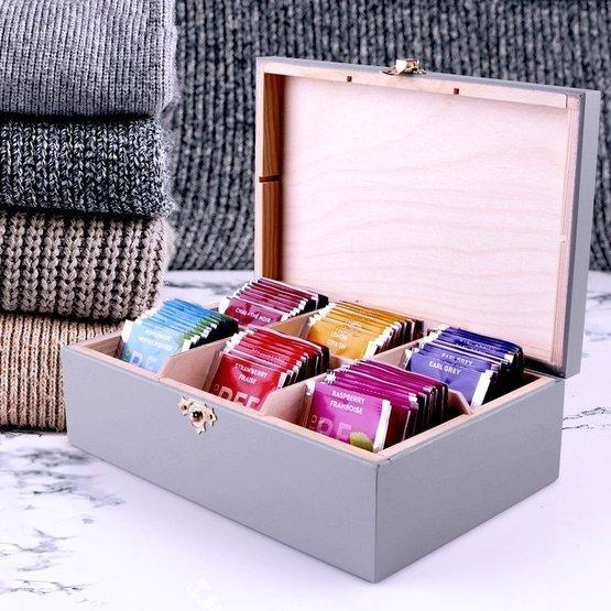 Pudełko szare z herbatą Lipton 60szt. dla najlepszego dziadka