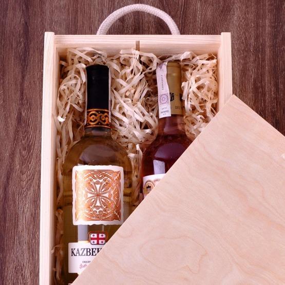 Pudełko z przegródką na dwa wina - podziękowania dla rodziców