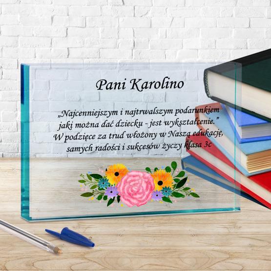 Statuetka szklana dla nauczyciela - podziękowania - kwiaty