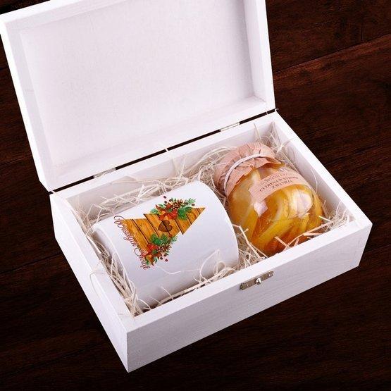 Zestaw kubek + cytryna w syropie w pudełku z nadrukiem - Choinka