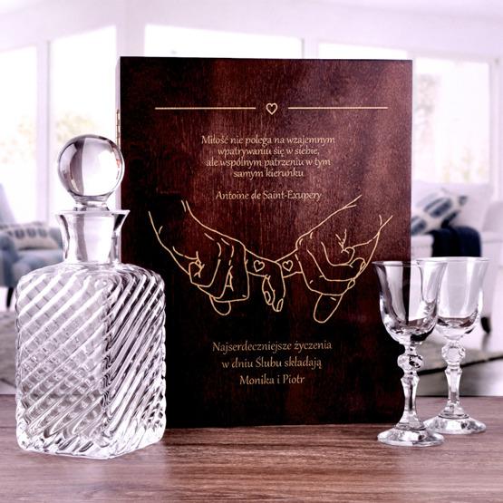 Zestaw dwóch kieliszków z karafką VITAGE w pudełku na ślub lub rocznicę